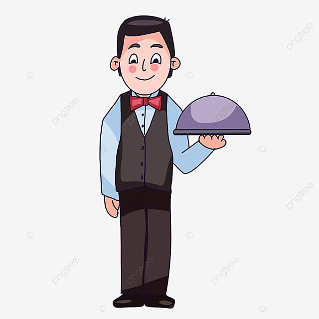 waiter wearing gray vest clipart