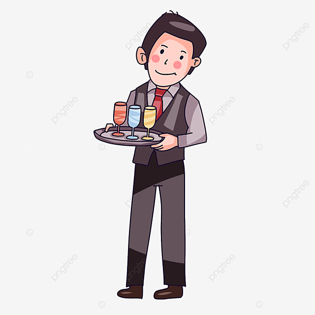 waiter with both hands carrying plates clipart