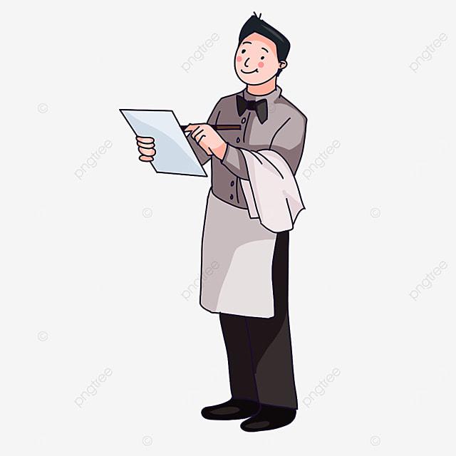 waiter writing a menu clipart