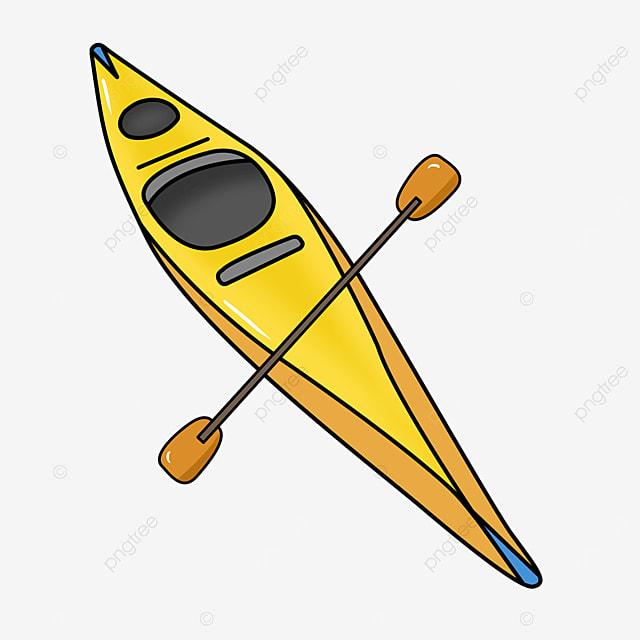 yellow single cockpit kayak clip art
