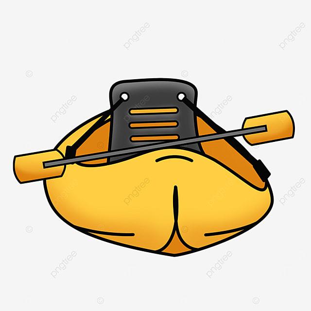 yellow single sport kayak clip art