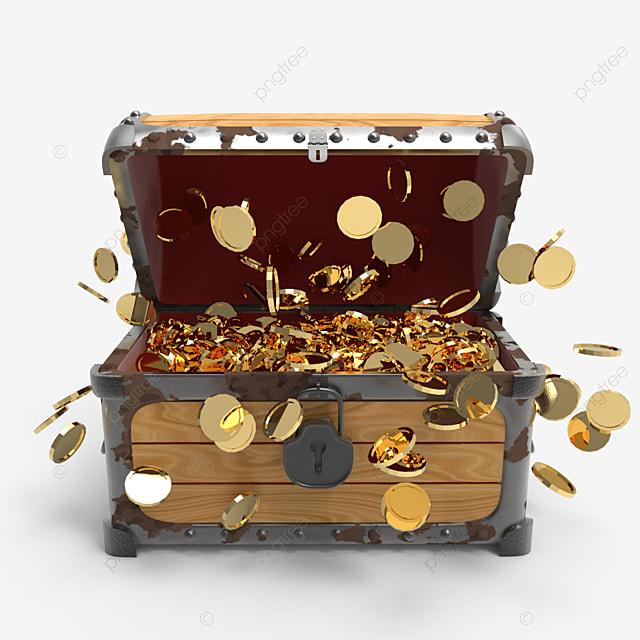 burst of golden coins inside treasure chest