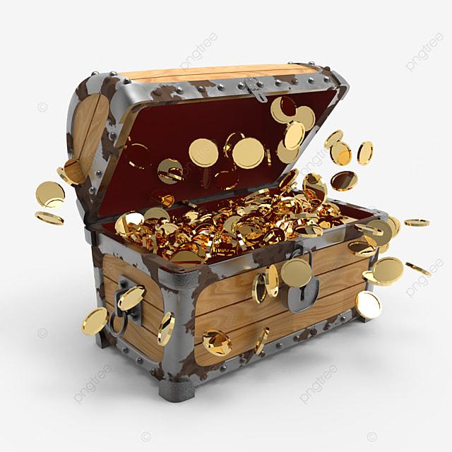 burst of golden coins inside treasure chest side view