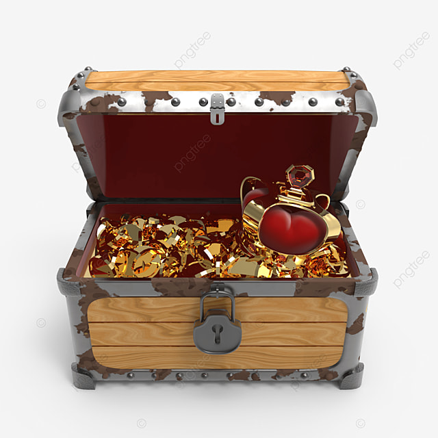crown and golden coins inside treasure chest