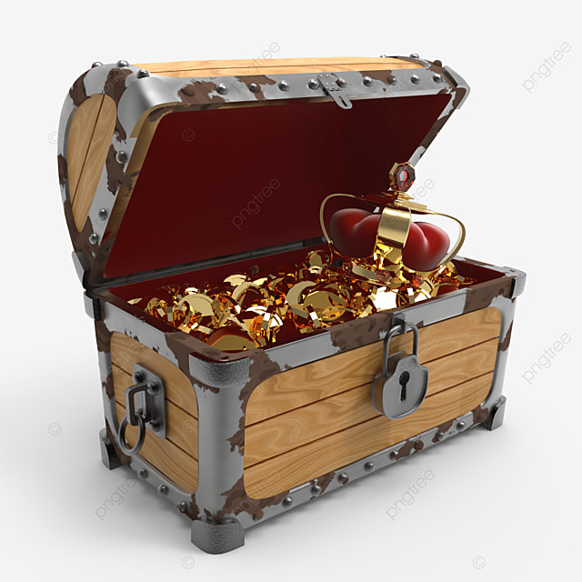 crown and golden coins inside treasure chest side view
