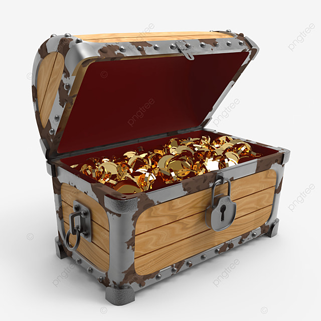 old rusty trasure chest fill with golden coins side view