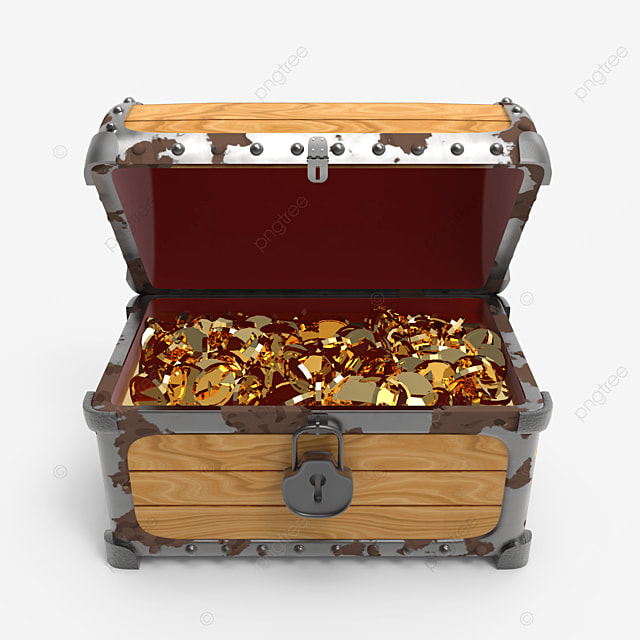 old rusty treasure chest fill with golden coins