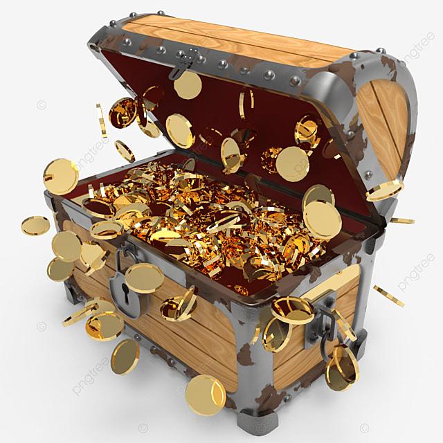 side view of burst golden coins inside treasure chest
