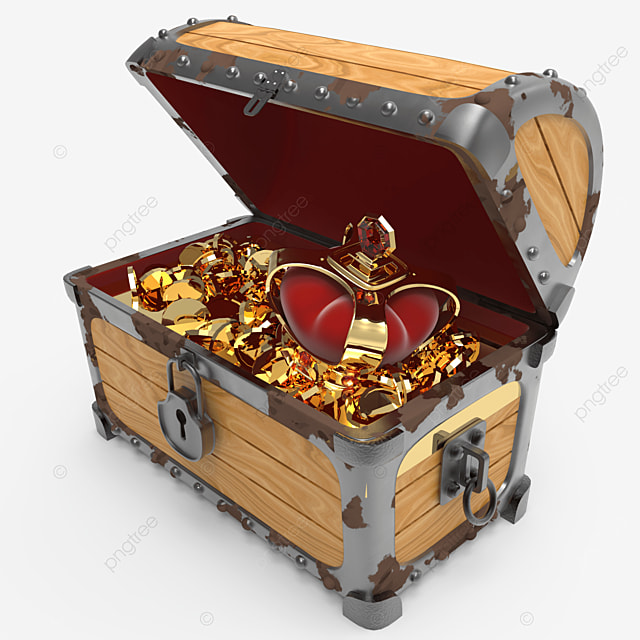 side view of crown and golden coins inside treasure chest