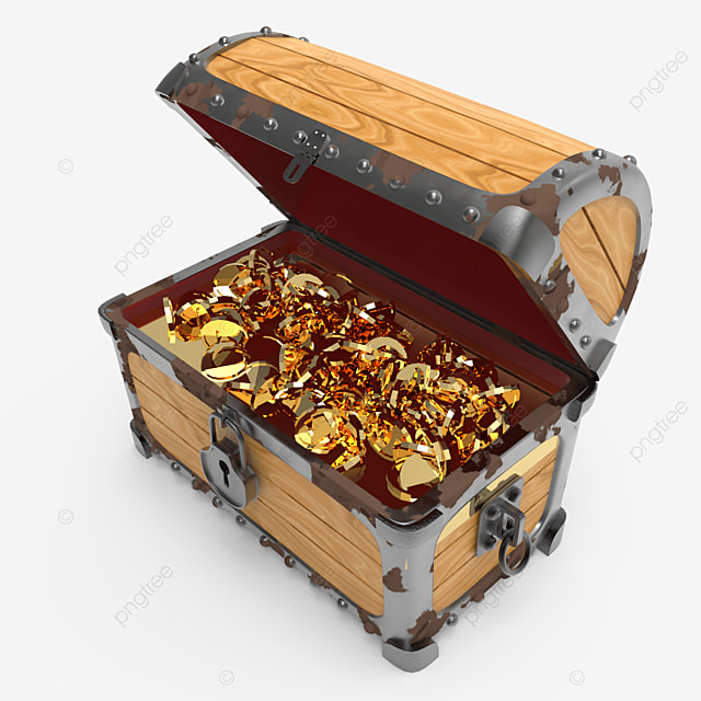 side view of old rusty treasure chest fill with golden coins
