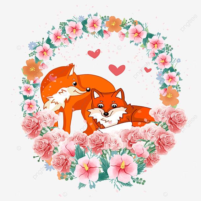 animal couple fox pink flower wreath