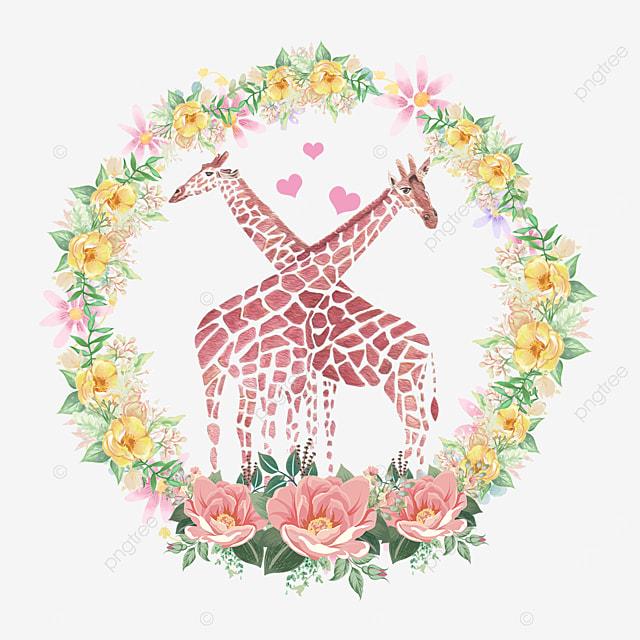 animal couple giraffe yellow wreath