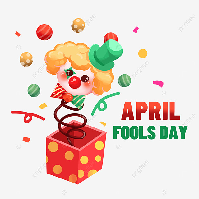 april fools day clown toy box clipart