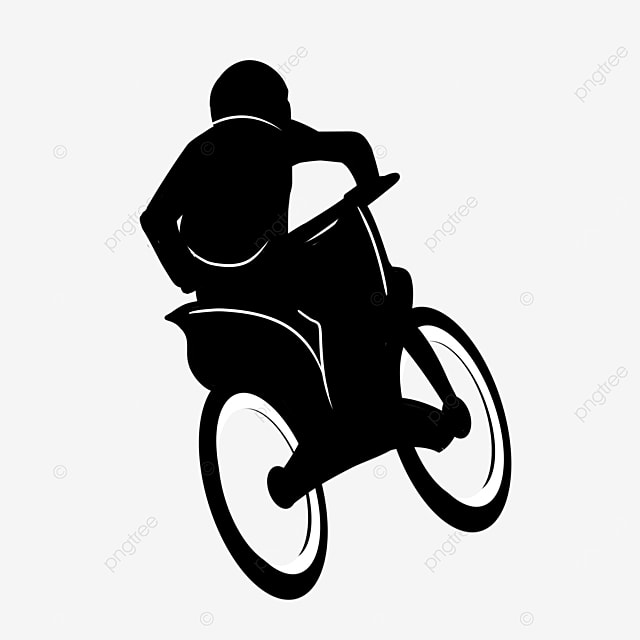 back view of a man riding a buggy clipart