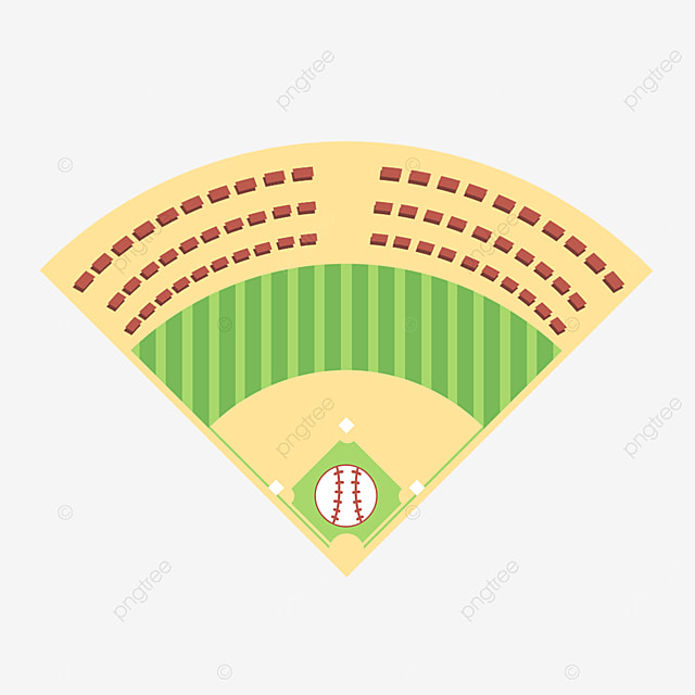 baseball field with auditorium top view clipart