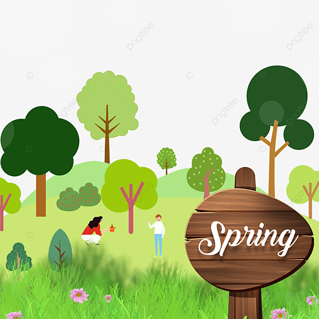 beautiful green spring flowers and wood board border
