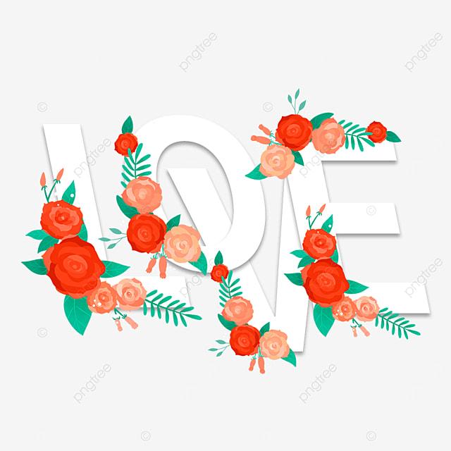 beautiful love floral font