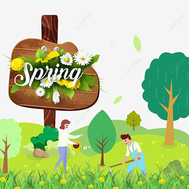 beautiful spring flowers and wood board border