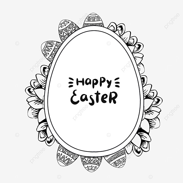 black and white creative lineart easter floral border