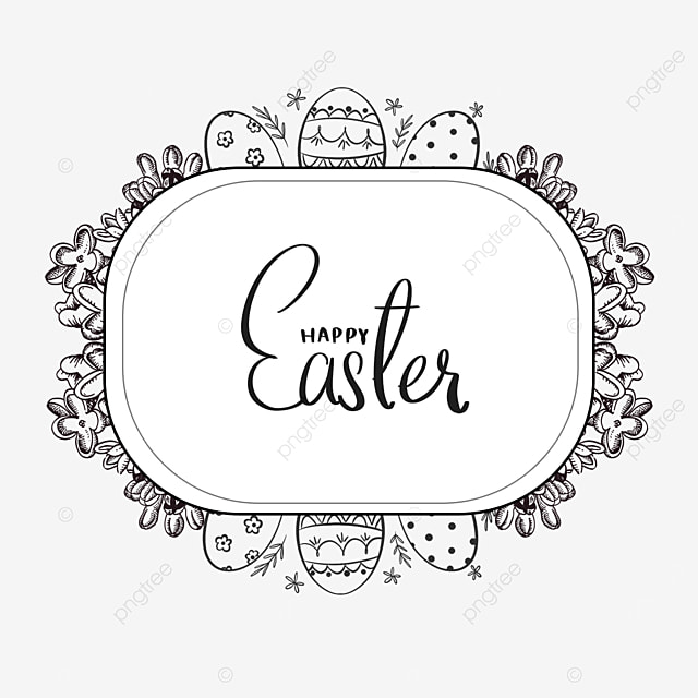 black and white floral lineart easter border