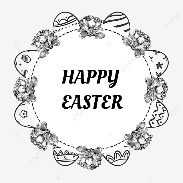 black and white lineart easter floral border