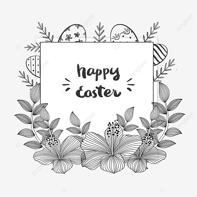 black and white lineart easter floral square border