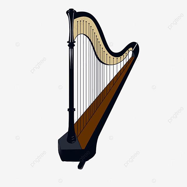 black harp clip art