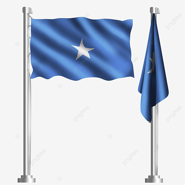 blue pentagram waving the flag of the federal republic of somalia