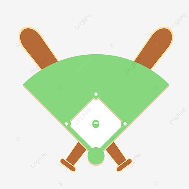 cartoon cool baseball bat with baseball field clipart