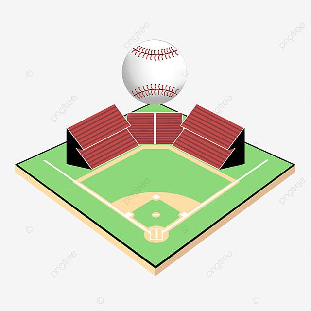 cartoon creative floating baseball baseball field clipart