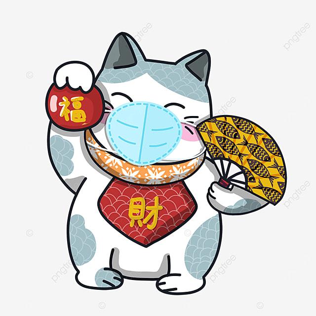 cartoon lucky cat virus protection