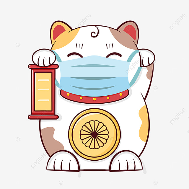 cartoon lucky cat wearing a mask for virus protection