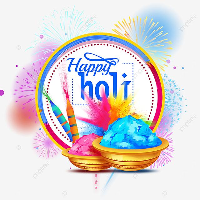 circular bright happy holi border