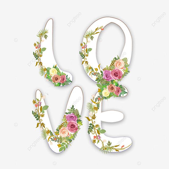 colorful floral love font
