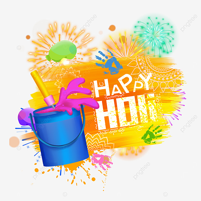 colorful happy holi fireworks border