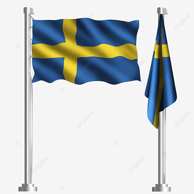 cross waving swedish flag on blue background