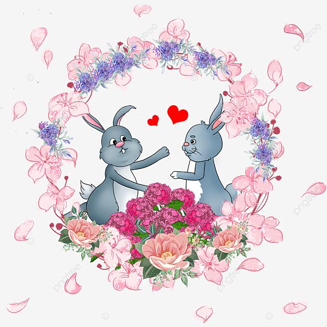 cute animal couple bunny wreath