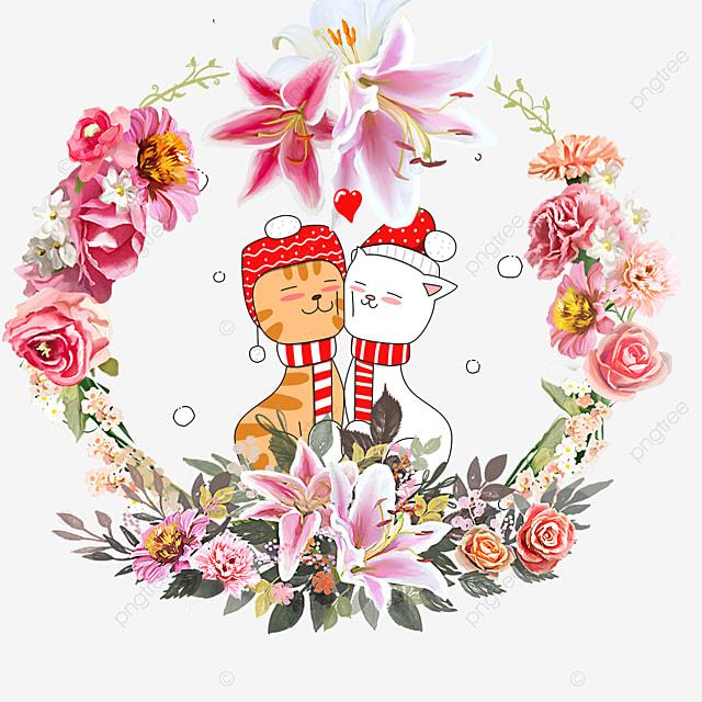 cute animal couple kitten lily wreath