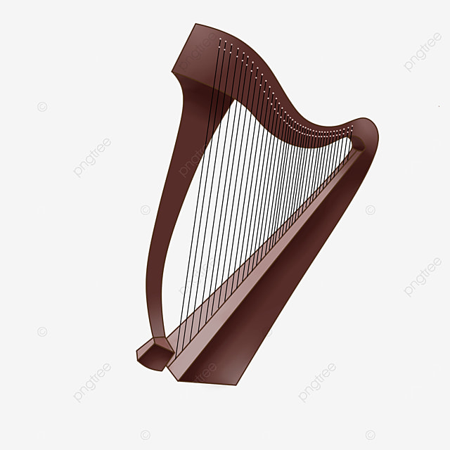 dark wooden harp clip art