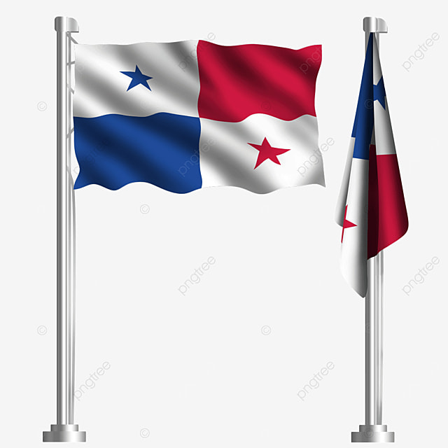 five pointed star white waving panama flag on red background