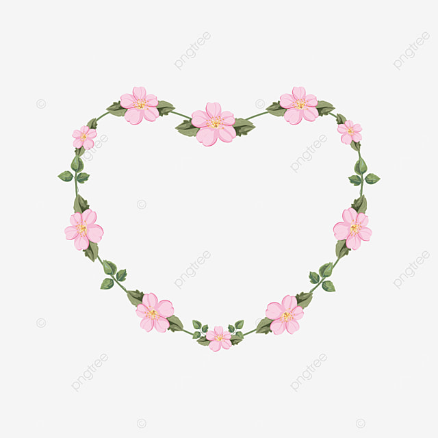 floral plant heart shaped border