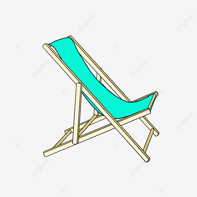 folding beach lounge chairs by the sea clipart