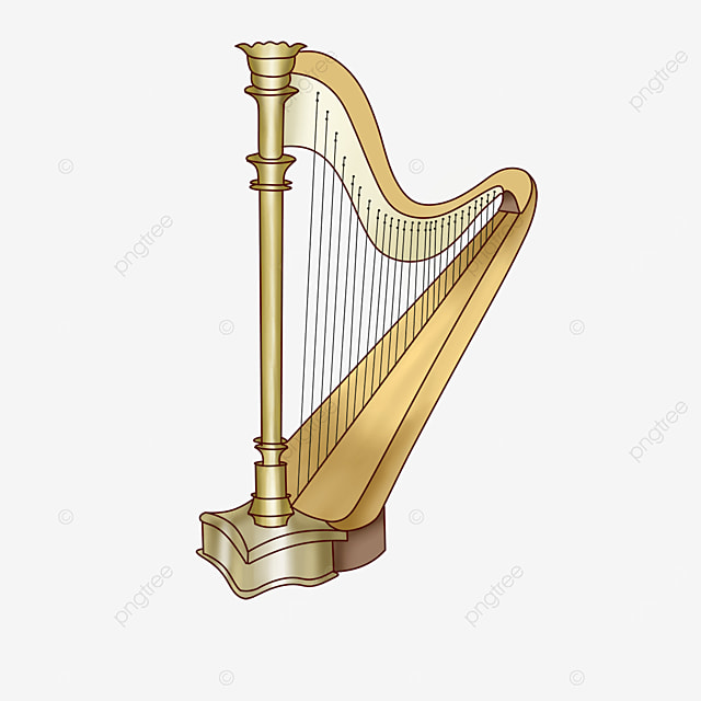 golden harp clip art