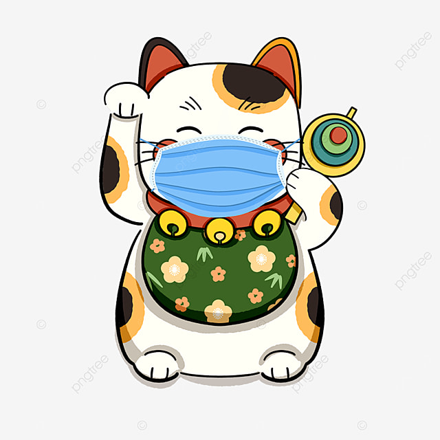 green lucky cat wearing a mask for virus protection