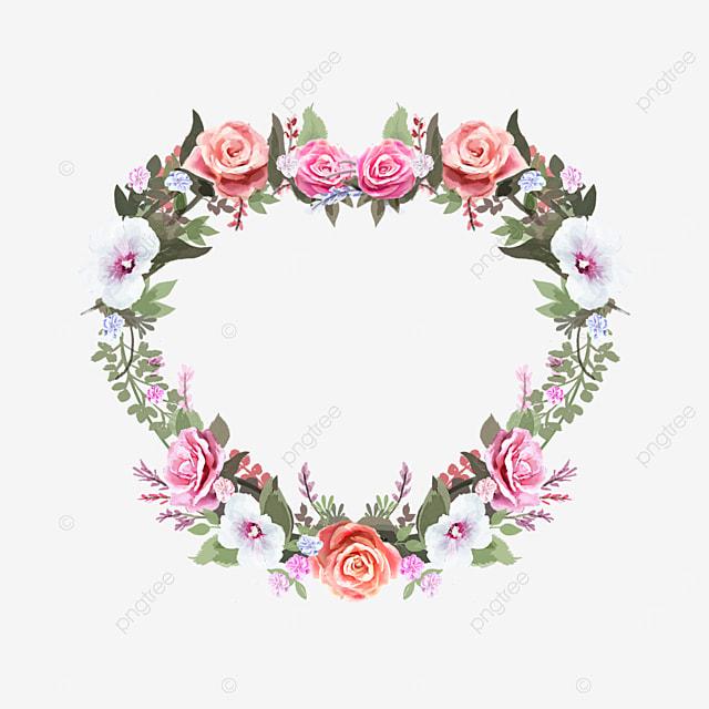 heart shaped rose flower border