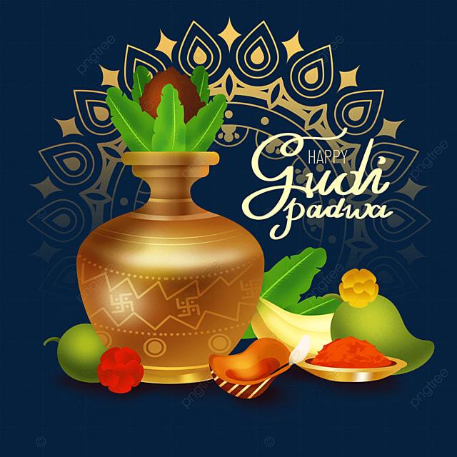 hindu new year gudi padwa yellow gradient jar