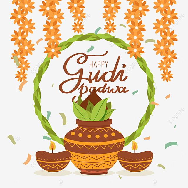 indian new year gudi padwa green border