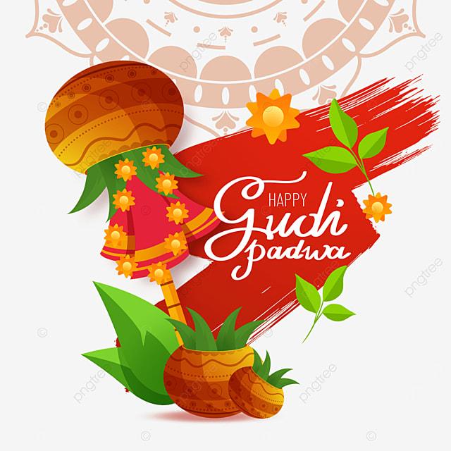 indian new year gudhi padwa red brush