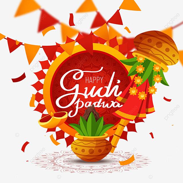 indian new year gudi padwa red decoration