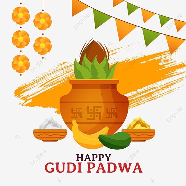 indian new year gudi padwa yellow brush